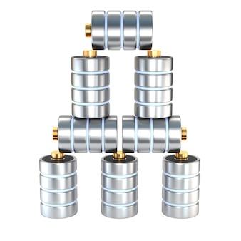 Metta il disco delle icone un database del concetto della batteria isolato su fondo bianco. il concetto della struttura ad albero delle directory. illustrazione 3d