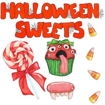 Serie di illustrazioni per halloween testo arancione dolci di halloween con ragnatele lecca-lecca con fiocco rosso