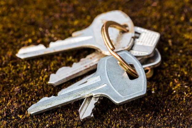 Set di chiavi steso a terra. vista dal lato. foto di alta qualità