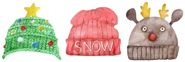 Set di berretti invernali lavorati a maglia, illustrazione dell'acquerello