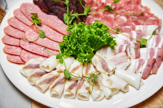 Set di lardo, prosciutto, petto, salsiccia e prosciutto su un piatto bianco. primo piano, messa a fuoco selettiva