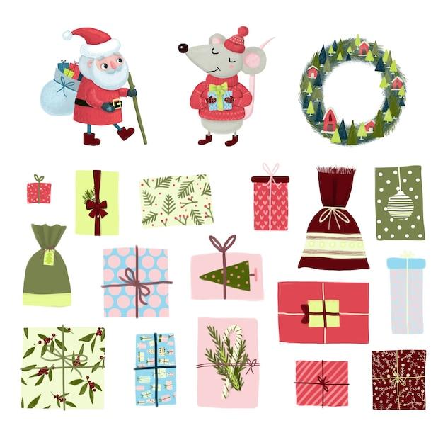 Set di simboli e personaggi di buon natale mascotte: babbo natale, pila di regali, topo e scatole regalo. illustrazione del fumetto per banner, card