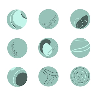 Set di nove icone di line art loghi rotondi in colore verde menta elementi astratti e cerchi botanici