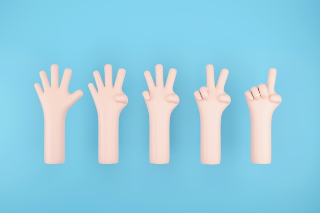Set di numero 1 2 3 4 5 con il segno della mano su sfondo blu cielo, 3d'illustrazione