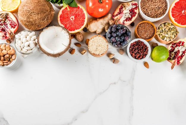 Set di alimenti sani biologici