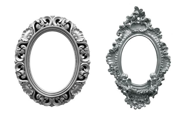 Set di cornice vintage ovale argento isolato su sfondo bianco