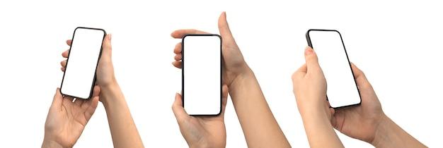 Set di schermo mockup per smartphone in mano isolato su uno sfondo bianco, copia spazio, percorso di ritaglio, foto banner