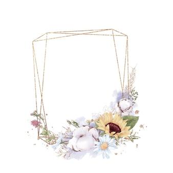 Set di girasole in una cornice d'oro. illustrazione dell'acquerello.