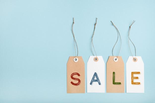 Set di tag con la parola vendita
