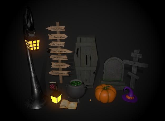Una serie di cose per il rendering 3d di halloween
