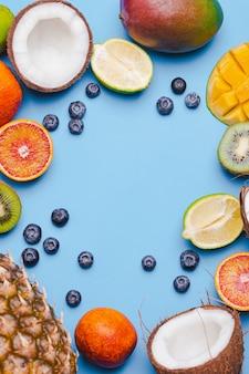 Set di frutti tropicali kivi, arancia rossa, cocco, mango, mirtillo, lime, kivi su backgroundi blu. cornice alimentare per frutta ftropical. flatlay con copyspace. concetto di immunità