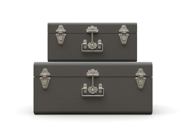 Set di due valigie in pelle grigia con raffinati fermagli. design classico premium con tradizioni secolari. nuovo prodotto moderno in stile vintage