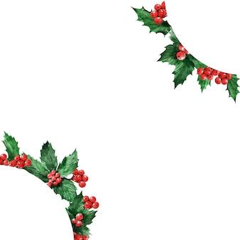 Una serie di cornici natalizie ad acquerello con una pianta di agrifoglio