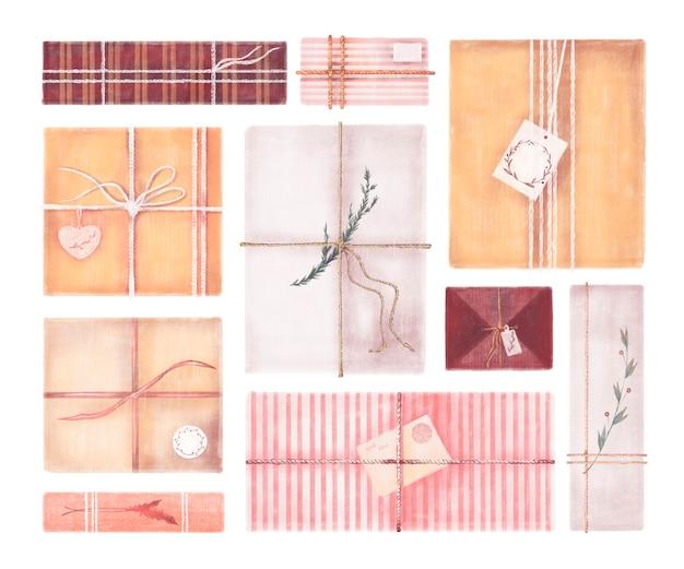 Set di illustrazioni ad acquerello della collezione di scatole regalo di natale isolato su sfondo bianco
