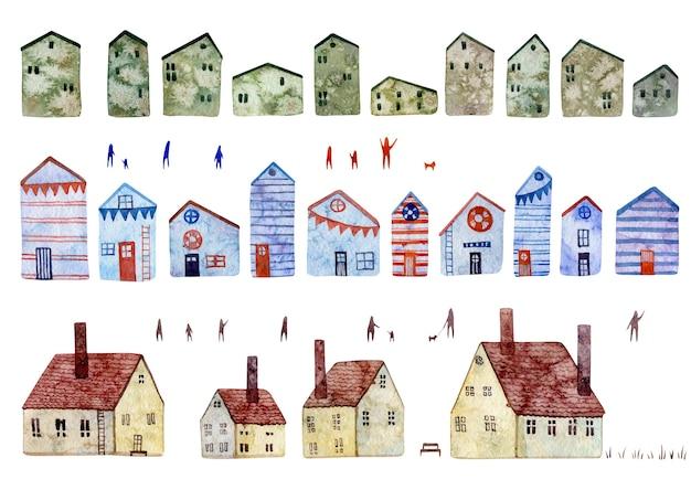 Serie di illustrazioni ad acquerello di diverse case isolate su sfondo bianco vecchie case europee