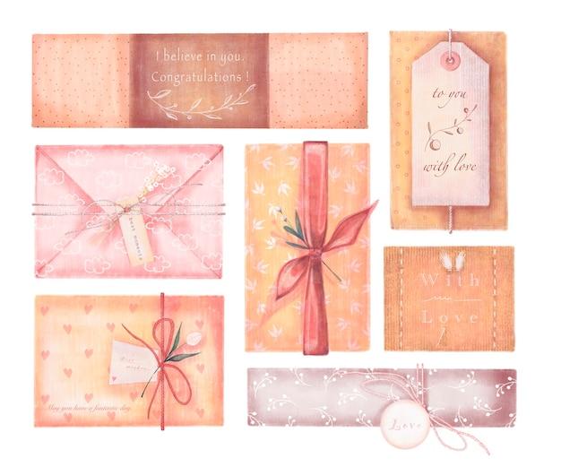 Set di illustrazioni ad acquerello di scatole regalo in carta da imballaggio isolato su sfondo bianco