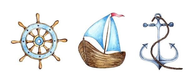 Set di illustrazioni ad acquerello dell'ancora della barca a vela del volante proprietà marinaio di supporto navale