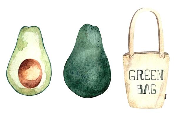 Serie di illustrazioni ad acquerello con avocado e borsa della spesa ecologica