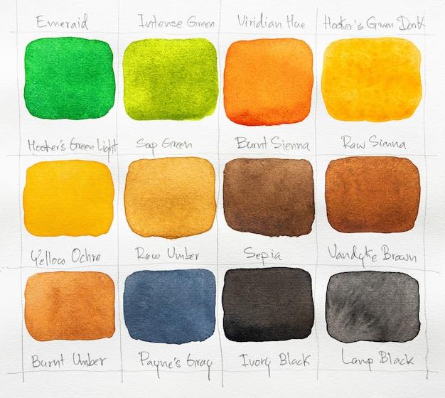 Set di macchia dell'acquerello su fondo bianco. collezione di sfumature di colore. pennello acquerello colorato multicolore. avvicinamento.