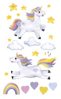 Impostare gli unicorni dell'acquerello con nuvole, stelle, arcobaleno