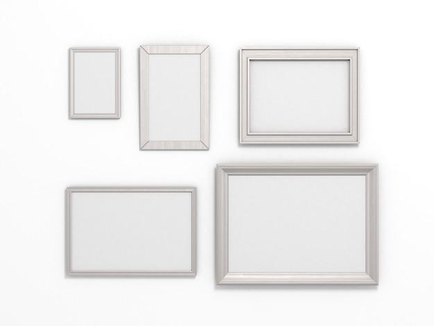Set di cornici bianche di diverse dimensioni su sfondo bianco