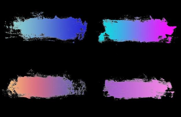 Impostare tratti bianchi di vernice isolati su sfondo nero. pennello da disegno