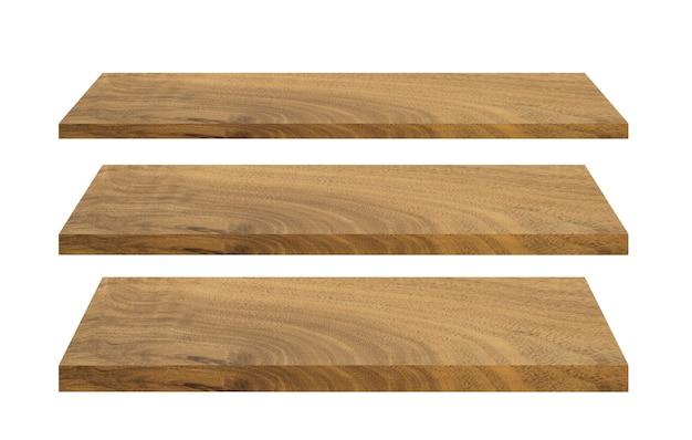 Set di ripiani in legno isolato su bianco isolato con tracciato di ritaglio per il design
