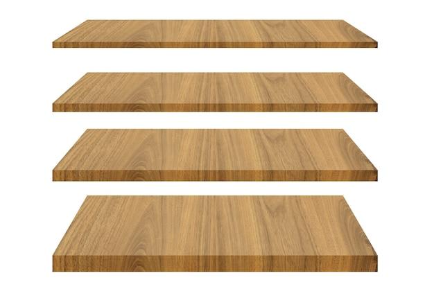 Set di mensole in legno isolato su bianco isolato con tracciato di ritaglio