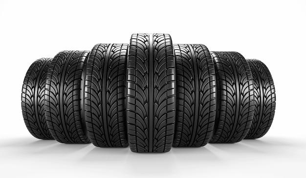 Sette pneumatici per auto su sfondo bianco. rendering 3d