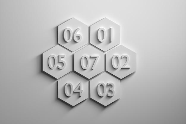 Sette esagoni bianchi con grandi numeri su sfondo bianco.