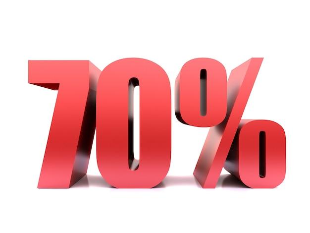 Simbolo del settanta percento 70% rendering 3d