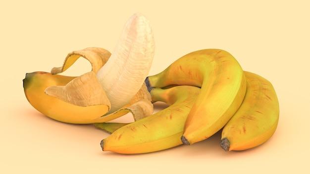 Diverse banane su uno sfondo giallo, illustrazione 3d