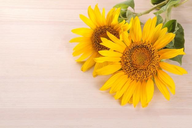 Diversi bellissimi girasoli gialli con una foglia su uno sfondo di legno naturale