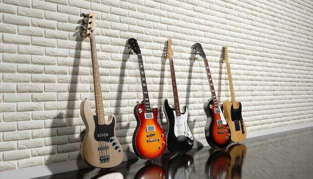 Diverse chitarre elettriche su uno sfondo di muro di mattoni, 3d'illustrazione