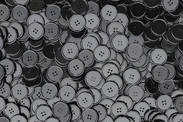 Sfondo di bottoni da cucire. primo piano estremo dei bottoni di cucito neri. rendering 3d