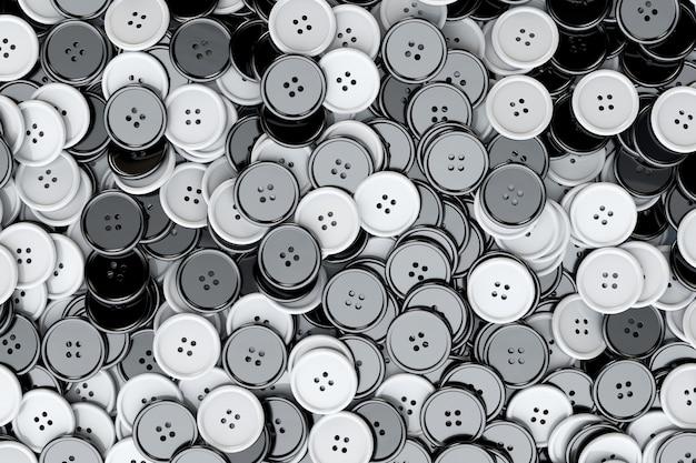 Sfondo di bottoni da cucire. primo piano estremo dei bottoni di cucito in bianco e nero. rendering 3d