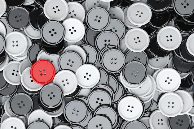 Sfondo di bottoni da cucire. bottoni da cucire in bianco e nero con un primo piano estremo rosso. rendering 3d
