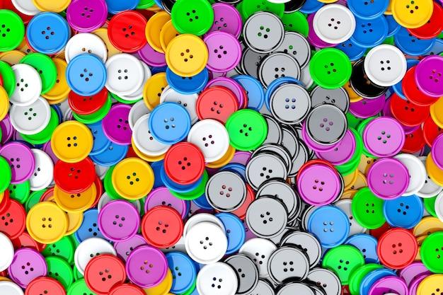 Sfondo di bottoni da cucire. primo piano estremo di bottoni da cucire multicolori. rendering 3d