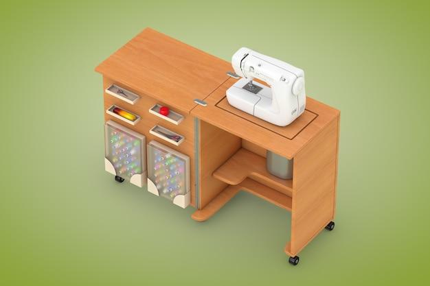 Macchina da cucire sulla tavola di legno dell'officina del sarto su un fondo verde. rendering 3d