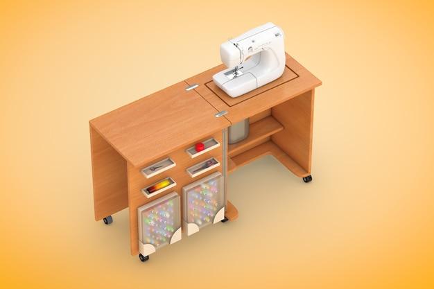 Macchina da cucire sulla tavola di legno dell'officina del sarto su un fondo arancio. rendering 3d