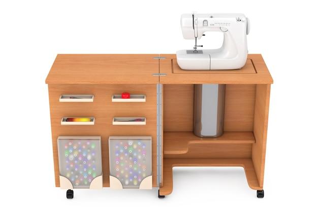 Macchina da cucire sulla tavola di legno dell'officina del sarto su un fondo bianco. rendering 3d