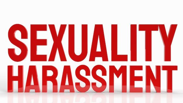La parola molestie sessuali per sfondo rendering 3d