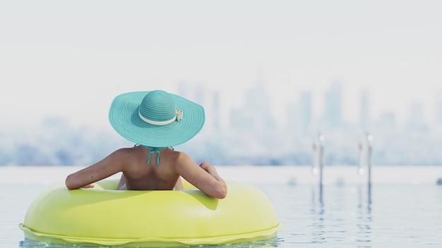 Donna 3d sexy rilassante in piscina al concetto di spa resort.relaxing.