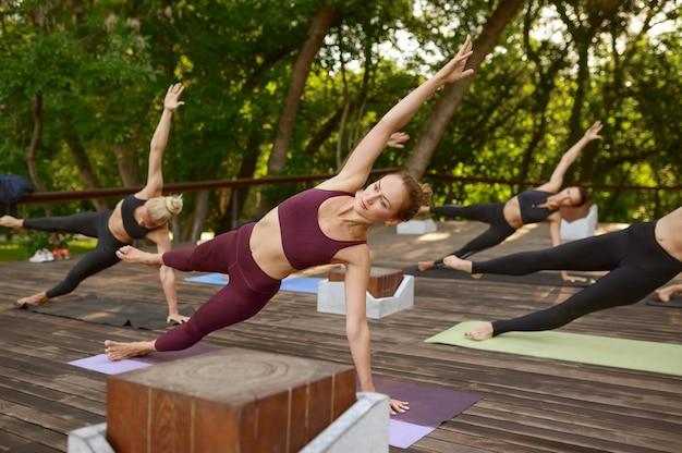 Donne sexy sulla formazione yoga di gruppo nel parco estivo. meditazione, lezione di fitness sull'allenamento all'aperto, pratica di rilassamento.