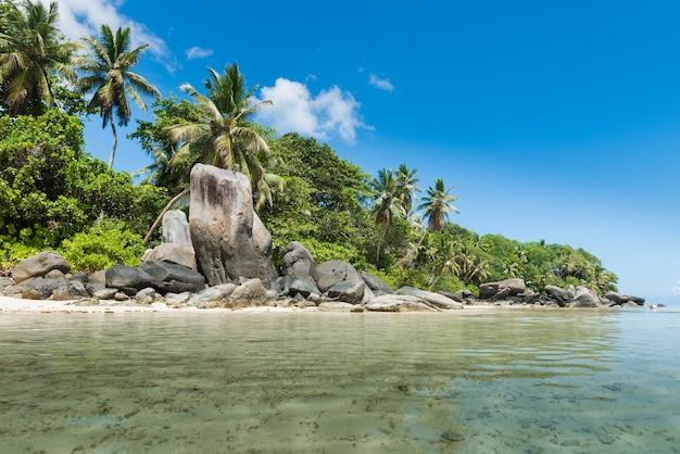 Costa delle seychelles con grandi rocce e verdi