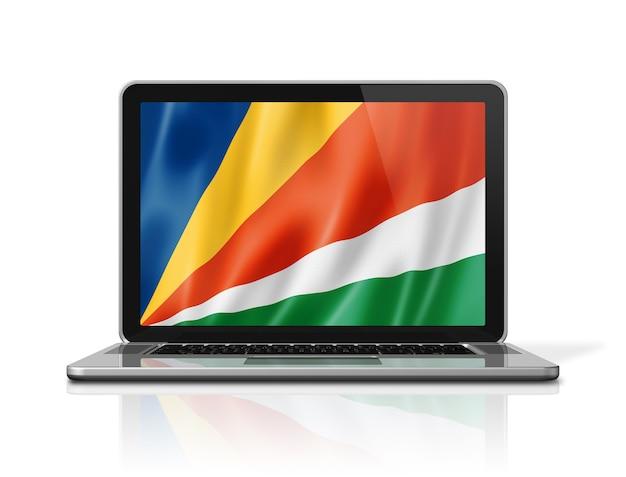 Bandiera delle seychelles sullo schermo del computer portatile isolato su bianco. rendering di illustrazione 3d.