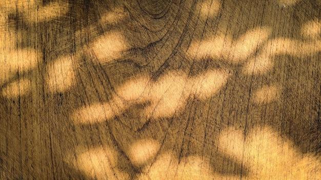L'ombra delle foglie sovrapposizione naturale della luce solare sul vecchio fondo di struttura di legno Foto Premium