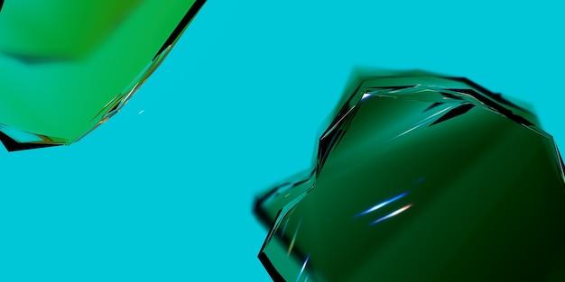 Frammenti di vetro su uno sfondo verde illustrazione astratta 3d render