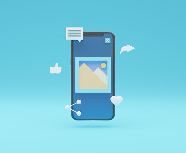Condivisione dell'immagine sui social media con l'icona galleria intelligente sullo schermo del cellulare rendering 3d in stile minimal semplice