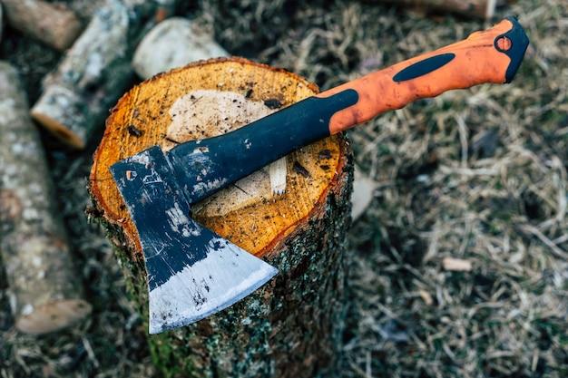 Ascia tagliente sulla superficie del ceppo di legno - concetto di lavoretto primaverile